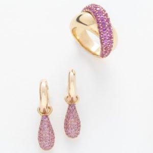 Pink Sapphire Earrings & Cross-Over Ring
