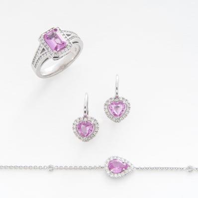 Pink Sapphire & Diamond Ring, Earrings & Bracelet