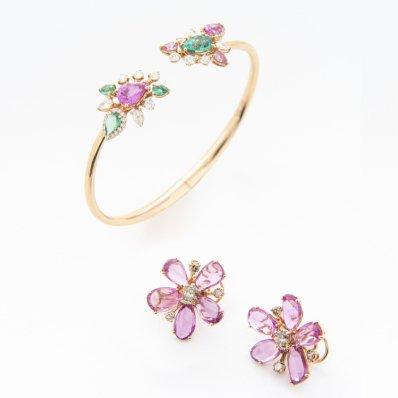 Pink Sapphire, Tsavorite & Diamond Bangle & Earrings