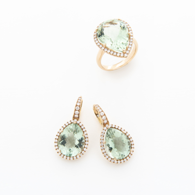 Prasiolite & Diamond Ring & Earrings