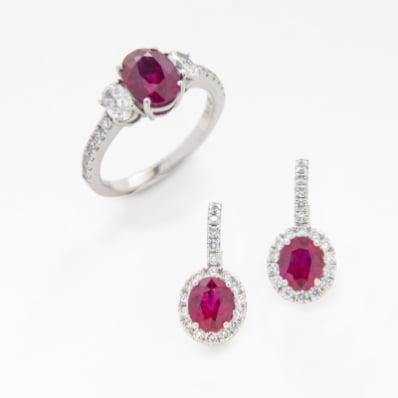 Ruby & Diamond Ring & Earrings