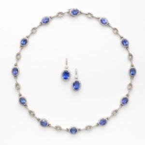 Tanzanite & Diamond Necklace & Earrings