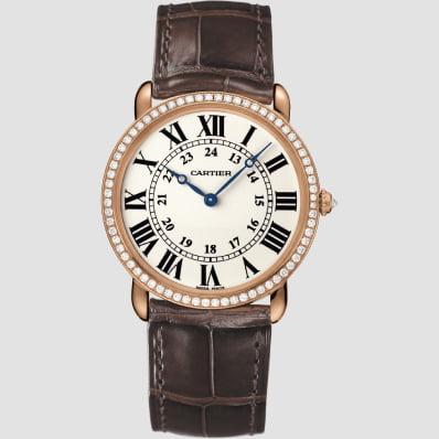 Cartier Ronde Louis Cartier 36mmRose Gold, diamonds & Leather
