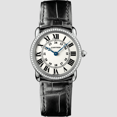 Cartier Ronde Louis Cartier 29mm white Gold, Diamonds, Leather