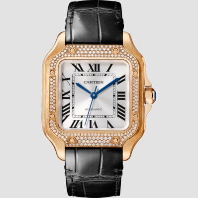 Cartier Santos Medium Rose Gold, Diamonds & Leather