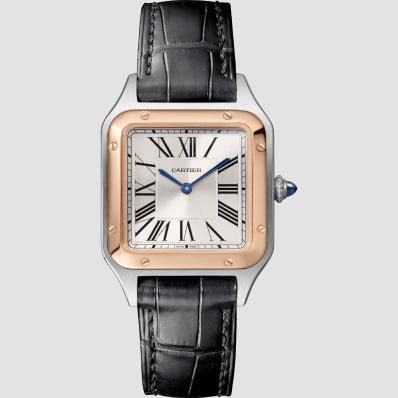Cartier Santos Dumont Medium Rose Gold, Steel & Leather