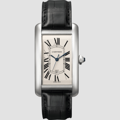 Cartier Tank American white gold and leather