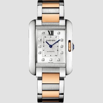 Cartier Tank Anglaise Medium Rose Gold, Steel & Diamonds
