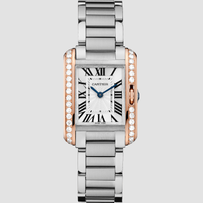 Cartier Tank Anglasie Small Pink Gold, Steel and Diamonds