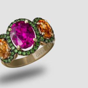 Emerald, Citrine & Pink Topaz Ring