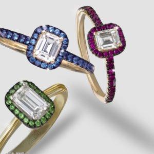diamond, sapphire, ruby & emerald rings